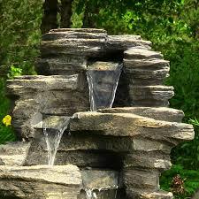 impressive outdoor waterfall fountain 26 39in rock falls top furniture endearing outdoor waterfall fountain