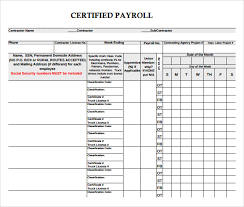 Payroll Forms Sample Certified Payroll Form 8 Free Documents In Pdf