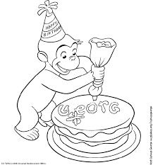 Curious George Coloring Page Birthday Party Pbs Parents Pbs