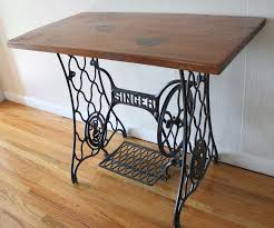 antique singer sewing machine iron table base with wood top
