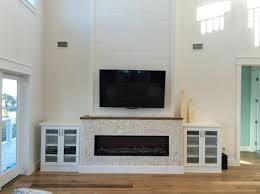 Linear Fireplace With Marble Surround Electric Insert Modern Surrounds
