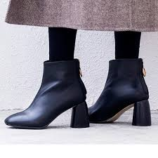 women black leather ankle boots 7cm square high heels las short winter booties shoes handmade british las botines mujer chelsea boots women monkey