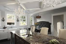 brown kitchen island with brown marble countertops