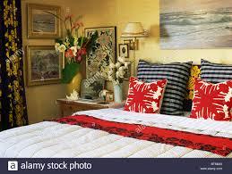 Rot Weiß Gemusterten Kissen Und Schwarz Weiß Gestreiften Kissen