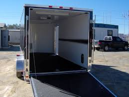 Car Trailer Lights And Accessories 24' Enclosed Motorcycle Cargo Trailer AC Unit E Track Finished LED 2