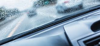 view out of rainy windshield