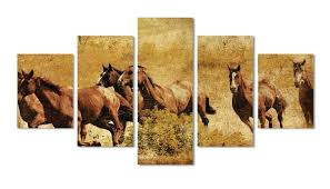 team of wild horses in the desert multi panel wall art canvas mighty paintings on wild horses wall art with team of wild horses in the desert multi panel wall art canvas
