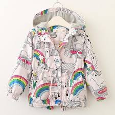 baby girls jackets children windbreaker clothing kids trench coat overcoat clothes 2018 autumn hooded rainbow print