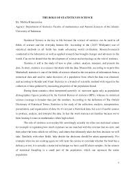 the role of statistics in science essay  1 the role of statistics in science by muthia khaerunnisa agency department of statistics