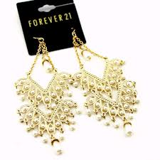boho style gold and white pearl chandelier earrings 1 of 5free