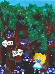 alice in wonderland painting cheshire cat by averylilith