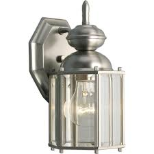 progress lighting brassguard collection 1 light outdoor brushed nickel wall lantern