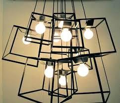 simple pendant light fixtures modern minimalist cube box frame geometric bar wood lighting hundred box