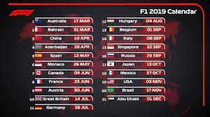 Calendario F1 2019: le date dei 21 GP, in programma da Marzo a Dicembre