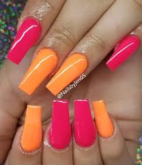 Pink Nail Art Design Orange And Bright Pink Nails 60 Prettiest And Stylish