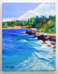 mahaulepu beach original acrylic painting from by kauaiartist