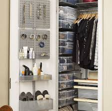 birch elfa décor closet with utility door wall rack
