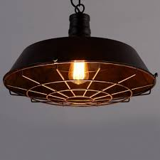 Industrial Cage Pendant Light with 15 Wide Shade Beautifulhalocom