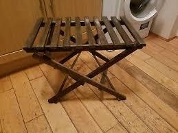 vintage wooden luggage suitcase rack foldable