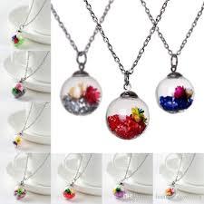 whole drift bottle dried flower pendant necklace creative luminous rose crystal glass vial pendant necklace for girl s ruby necklace turquoise necklace