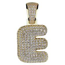 hechuang micropave simulated diamond iced out bling custom bubble letters pendant with rope chain b07c3q55f1