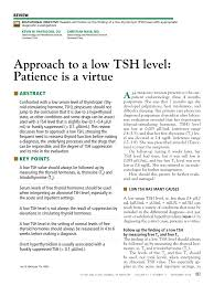 Tsh Level Chart For Thyroid Pdf Approach To A Low Tsh Level Patience Is A Virtue