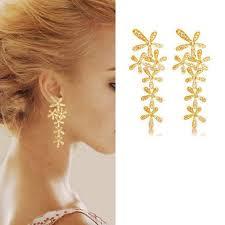 long gold erfly diamante crystal tassel drop dangle chandelier earrings