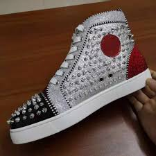 Glitter Bottom Shoes Designer New Luxury Designer Sneakers Men Women Casual Shoes Party Dress High Cut Studded Spikes Platforms Red Bottom Trainers Shoes35 46