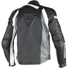 dainese veloster summer leather jacket black anthracite white thumb 2