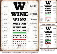 Wine Eye Chart Weathered Unmounted