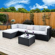 6 piece barcelona modular rattan corner sofa set in black with light cushions includes free protective