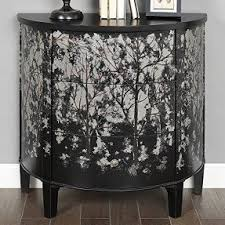 coast to coast imports carolina preserves accent chest black home furniture living room or bedroom decor console table made of wood demilune shape