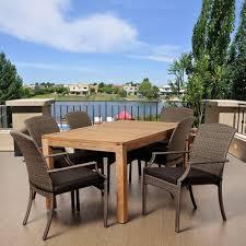ia presley 7 piece teak rectangular patio dining set with grey cushions