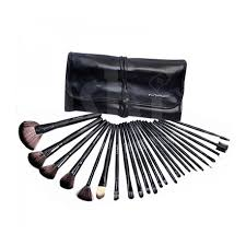 mac makeup brush set with leather pouch 24 pcs