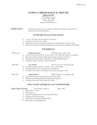 Cover Letter Chronological Resume Example Chronological Format