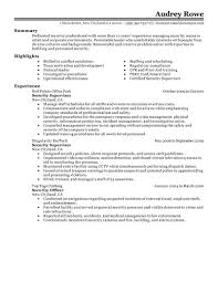 Security Supervisor Resume Objective Free Resume Example And