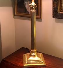 tall handsome corinthian column desk lamp brass antique