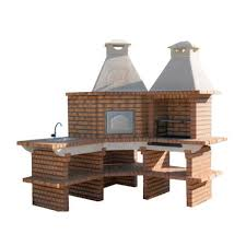 outdoor kitchen with large pizza oven grill and sink for diy