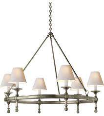 visual comfort studio sandy chapman classic ring chandelier in antique nickel with natural paper shades sl5812an