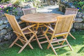 1 2m round solid teak folding table and folding arm chair patio furniture set