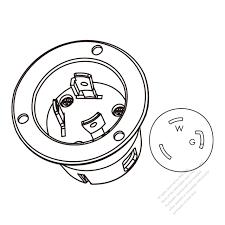 Usa canada locking flanged inlet nema l5 30p 2 p 3 wire grounding