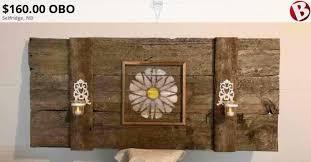 rustic authentic barn wood head board
