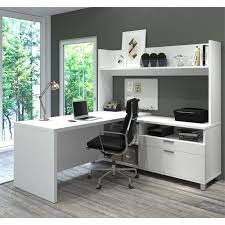 bestar pro linea l shaped home office desk with hutch in white