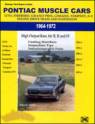 pontiac gto manuals at com 64 72 pontiac muscle cars used parts buyers guide engine drive train suspension interchange parts manual includes casting numbers inspection tips