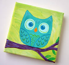 Easy Canvas Painting Cute Owl Canvas Paint Idea For Wall Decor Owl On A Branch Canvas