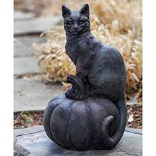 campania international cat on a pumpkin cast stone garden statue hayneedle