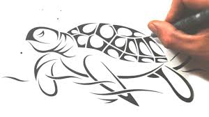 Small Picture How to Draw a Sea Turtle Tribal Tattoo Design Style YouTube