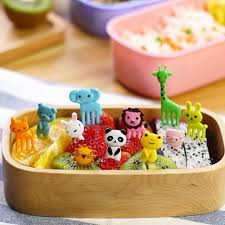 Decor Lunch Boxes 60 Packs Bento Kawaii Animal Food Fruit Picks Forks Lunch Box 44