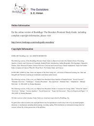 literary text the outsiders study guide