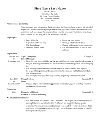 job resume templates